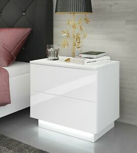 White Bedside Table / Cabinet / Nightstand / Push to Open / High Gloss / LED !!!