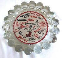 RARE Vintage Las Vegas Casino Hotel Hobnail Glass Ashtray Souvenir - EUC!