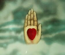 ANTIQUE AMERICAN PAINTED HEART IN HAND MAGIC LANTERN SLIDE IOOF ODD FELLOWS 3rd