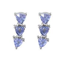 Trillion Cut Tanzanite Gemstone 925 Silver Women Wedding Party Wear Stud Earring