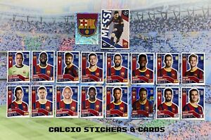 Topps UEFA Champions League 2020/21 Barcelona Team Set All 18 Stickers Messi x2