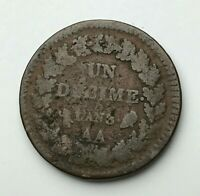 France - Un Decime - 1 Decime Coin - French Republic