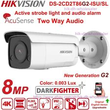 Hikvision AcuSense 4K 8MP DarkFighter DS-2CD2T86G2-ISU/SL IP Camera Speaker Mic