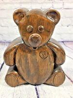 Vintage Wooden Teddy Bear Coin Bank - 1987 Allen Dearborn / Piggy Lil D
