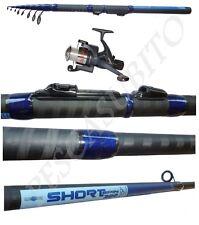 kit canna spinning 2.40m + mulinello talent filo carbonio telescopica pesca