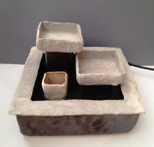 Signed Stone & Ceramic Square Tabletop Cascading Fountain w Little Stone Planter