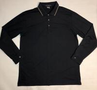 Tiger Woods Platinum Snap L/S Polo Golf Shirt Black Stretch RARE Men's Large EUC