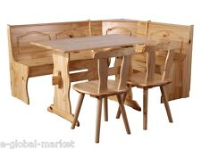Corner Kitchen Bench Table 2 Chairs Storage Solid Wooden Pine Rustic Seat Wood