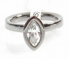 Argent Silver Rhodium Plated Marquise Cubic Zirconia Ring Size P NEW