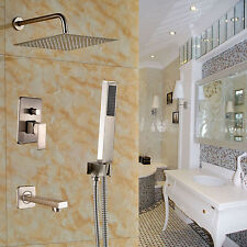 """Bath 3-way Mixer 10"""" Rainfall Shower Tub Spout with Hand Sprayer Brushed Nickel"""