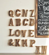 Simple Retro Vintage Wood Bark A-Z 26 Letters Figures Home Decor Sign Props Tool