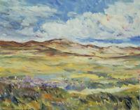 Art Original Oil Painting by RM Mortensen Landscape Mountains Sky Impressionism