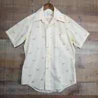 Vintage 60s,70s DAMON Silcron Dress Shirt Disco Woodstock Hippie Mens Birds