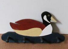 Vintage duck key holder plaque. Hand carved and painted. Signed by the artist