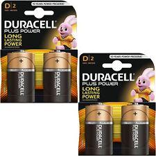 4 x Duracell Plus Power Type D Alkaline Batteries Pack - LR20 MN1300 MX1300 Mono