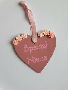 Special niece gift, wooden hanging heart