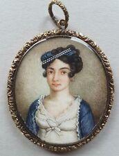 Portrait Miniatur einer Dame, Gouache, Miniaturist 19.Jh., 14 kt Gold Montierung