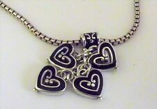 Brighton VIENNA Necklace 4 Silver Black Dangling Hearts Charms w/ Tin New NWOT