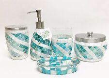 Nuevo 5 Pc Set Azul + Mopa Mosaico de Vidrio Dispensador Jabón + Plato +
