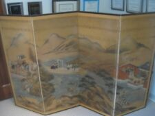 late 17th Century 4 panel Genroku Tosa School Kyoto screen 51 by 20 each Gouache