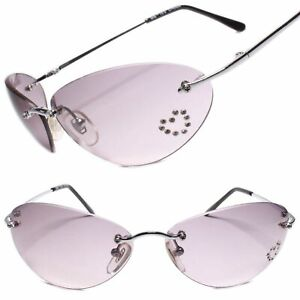Classic Vintage Retro Womens Rimless Oval Sunglasses Gray Lens Silver Frame