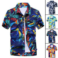 Fashion Men's Flower Print Dress Shirts Short Sleeve Vacation Casual Shirt Tops