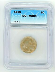 1913 P TYPE I  BUFFALO NICKEL - ICG GRADED MS66