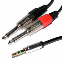 3.5mm Stereo Jack Plug to Twin 6.35mm MONO Plugs Low Noise Cable 3m