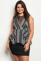 Black White Peplum Plus Size Dress