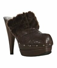"CHRISTIAN DIOR ""ICE CANNAGE"" LEATHER QUILTED FUR TRIM CLOG BROWN SIZE 37"