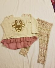 Savannah Baby Girls 2 piece Reindeer Outfit Top & Legging Beige/Pink size 24M