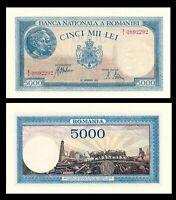ROMANIA 5000 Lei 1943 P 55  UNC ***