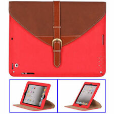ETUI PORTE TABLETTE A RABAT iPAD 2 3 4 CARTABLE ROUGE & MARRON ECO-CUIR (PU)