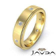 Mens Princess Bezel Diamond Eternity Wedding Solid Band 14k Yellow Gold 0.40Ct