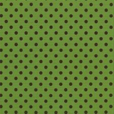 Michael Miller Dumb Dot Polka Dot Fabric in Avocado Green & Brown 1y 100% Cotton