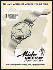 1950's Vintage 1953 Mido Multifort Grand Luxe Superautomatic Watch Art Print AD