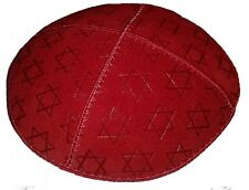 Kippa mit Davidssterne aus rot wildleder, Jüdische Geschenk für jüdische Männer