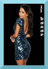 vestito donna mini abito corto paillettes scaglie scollatura posteriore tg u