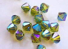 24 Olivine AB2X Swarovski Crystal Beads Bicone 5328 4mm
