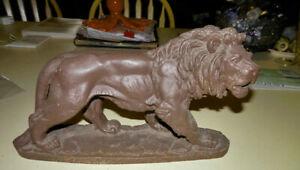 1920s Art Deco Composite Striding Lion Table Statue - Anyone Know A Leo?