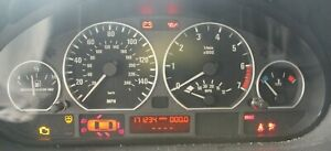 BMW OEM E46 INSTRUMENT CLUSTER 171K CHROME RINGS AUTO TRANS TESTED MOTO METER