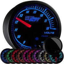 GlowShift Black Elite 10 Color Volt Voltage Gauge w. Peak Recall & Warnings
