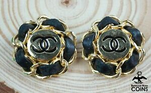 Vintage Chanel Gold-Toned Chain Link Clip-On Earrings