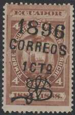 "ECUADOR 1896 Sc 73d ERROR, SURCHARGED ""1 cto"" INSTEAD OF ""10 cts"" MNH VF & RARE!"