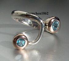 Einzelstück * Ring * Blauer Topas Blautopas * 925 Silber * 18 ct. Gold