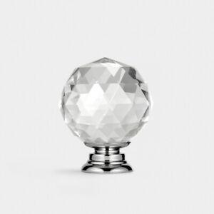 Moderne Argent Avec Transparent Facettes Cristal Verre Porte Placard Bouton 40mm
