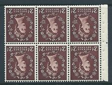 SB77a Wilding booklet pane Edward perf type Ie MIDDLE UNMOUNTED MNT/MNH