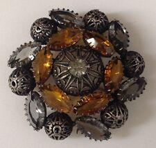 broche vintage couleur argent vieilli filigrane cristaux navette citrine / 92