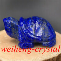 "2"" Natural Lapis lazuli Turtle Skull Quartz Crystal Skull Reiki Healing 1PC"