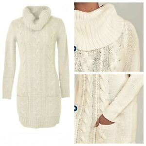Ladies Cream Jumper Dress Size XL VENUS Long Sleeve Cable Knit Pockets NEW NWOT